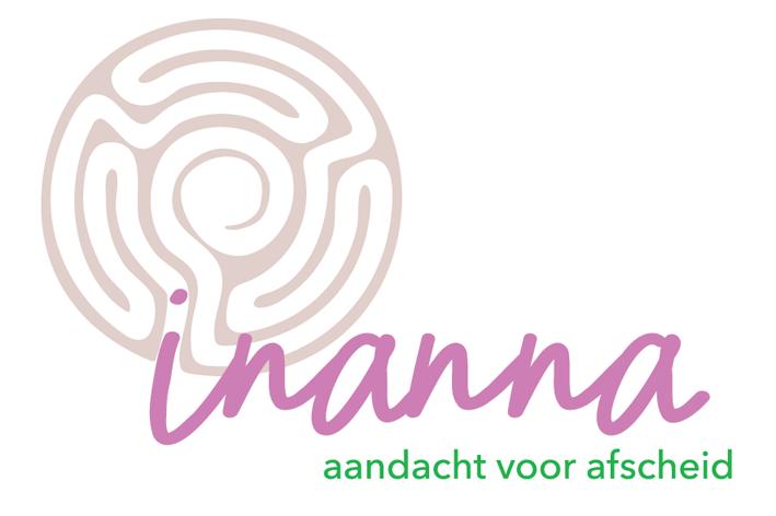 Logo Inanna paars en groen gestyleerde doolhof