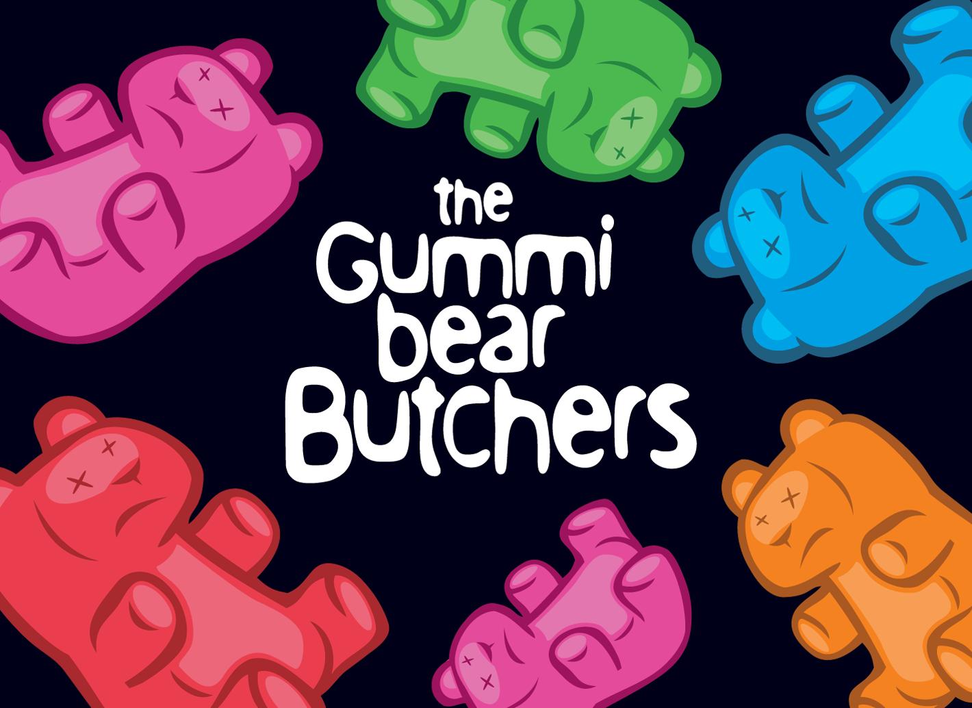 Gummi Bear Butchers logo omringd door gekleurde gummi beren