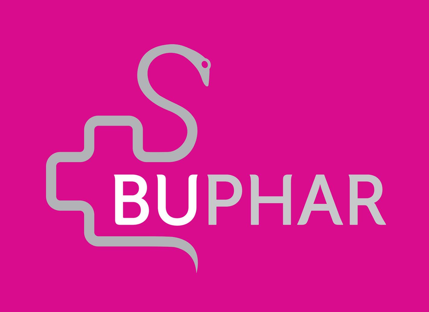 Apotheek logo Buphar Oelegem fuchsia slang