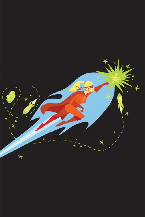 Vrije Universiteit Brussel B-Phot studenten flyer illustraties superheld