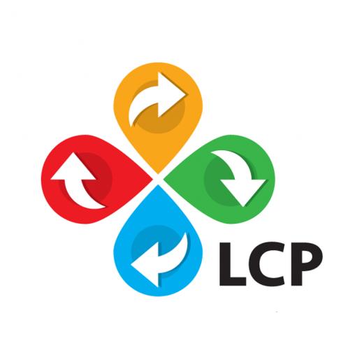 LCP logo voor Aquafin levenscyclus rood geel groen blauw