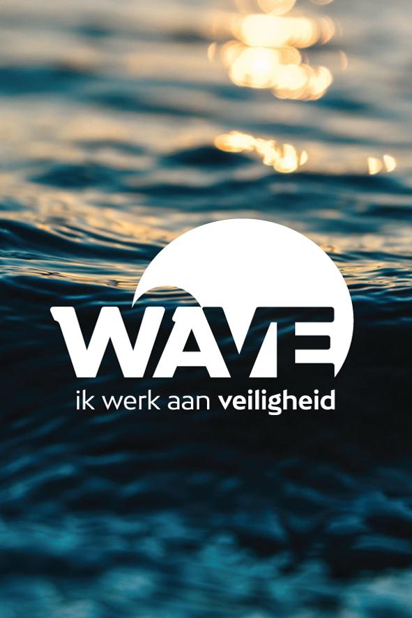 Wave logo voor Aquafin veiligheid wit