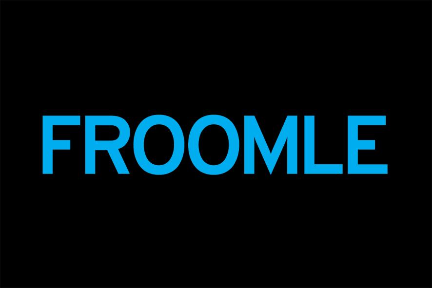 Logo Froomle Antwerpen blauw op zwart