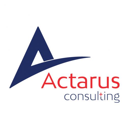 Logo Actarus Consulting blauw en rood