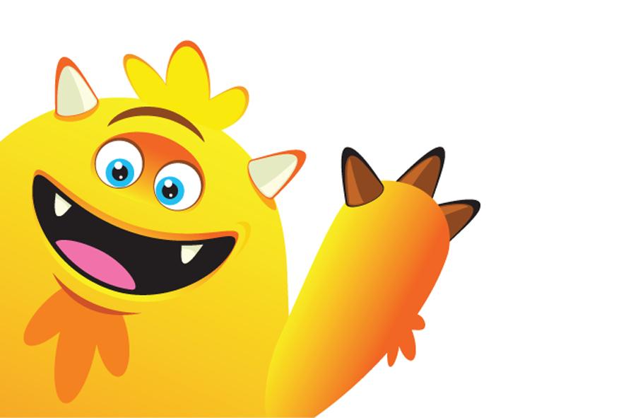 Monsterillustratie voor Taxistop happy geel monster