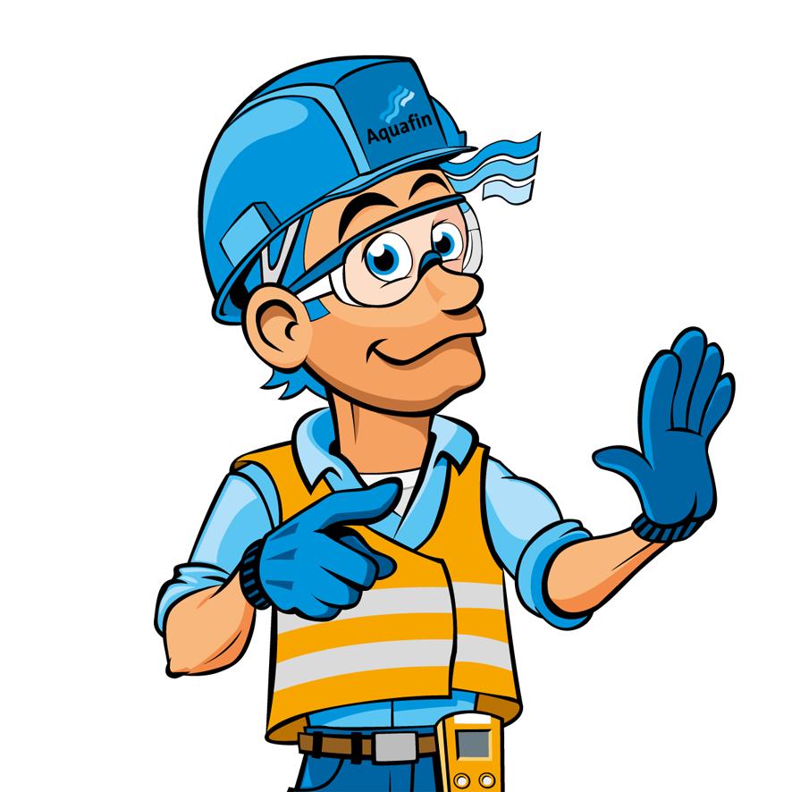 Aquafin veiligheidsmascotte Bert Alert illustratie helm fluo hesje veiligheidsbril
