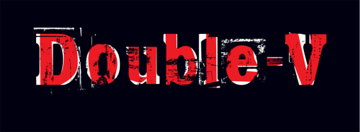 double v grungy logo red and white on a black background