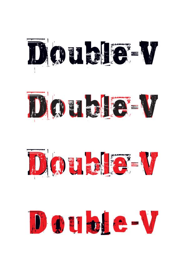 double v grunge logo in red white black