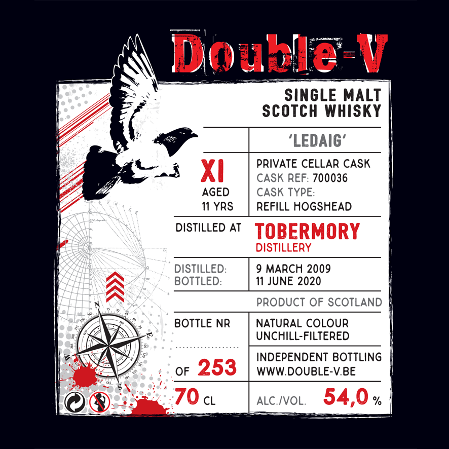 Double V whiskey tobermory grunge label in red, white and black